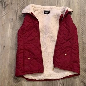 Maroon/ Red Sherpa Lined Vest